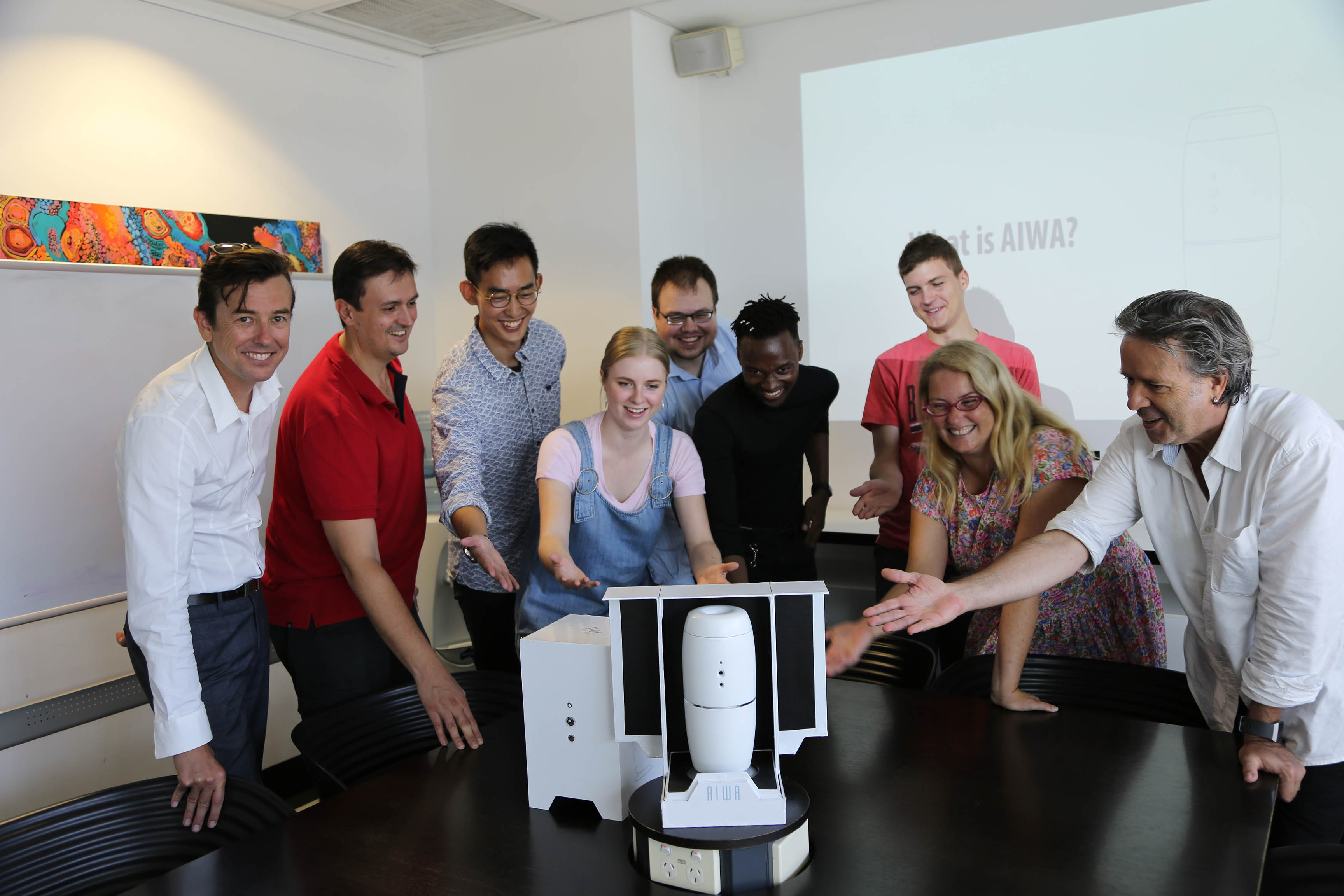 From left, Creative Industries Associate Dean Gavin Sade, Team AIWA, Drama Lecturer Kathryn Kelly and Creative Lab Director Louis-Philippe Demers with the device