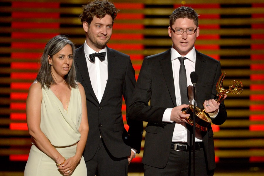 Creative director Patrick Clair (right) with animator Raoul Marks and producer Jennifer Sofio Hall winning Emmy for True Detective introduction